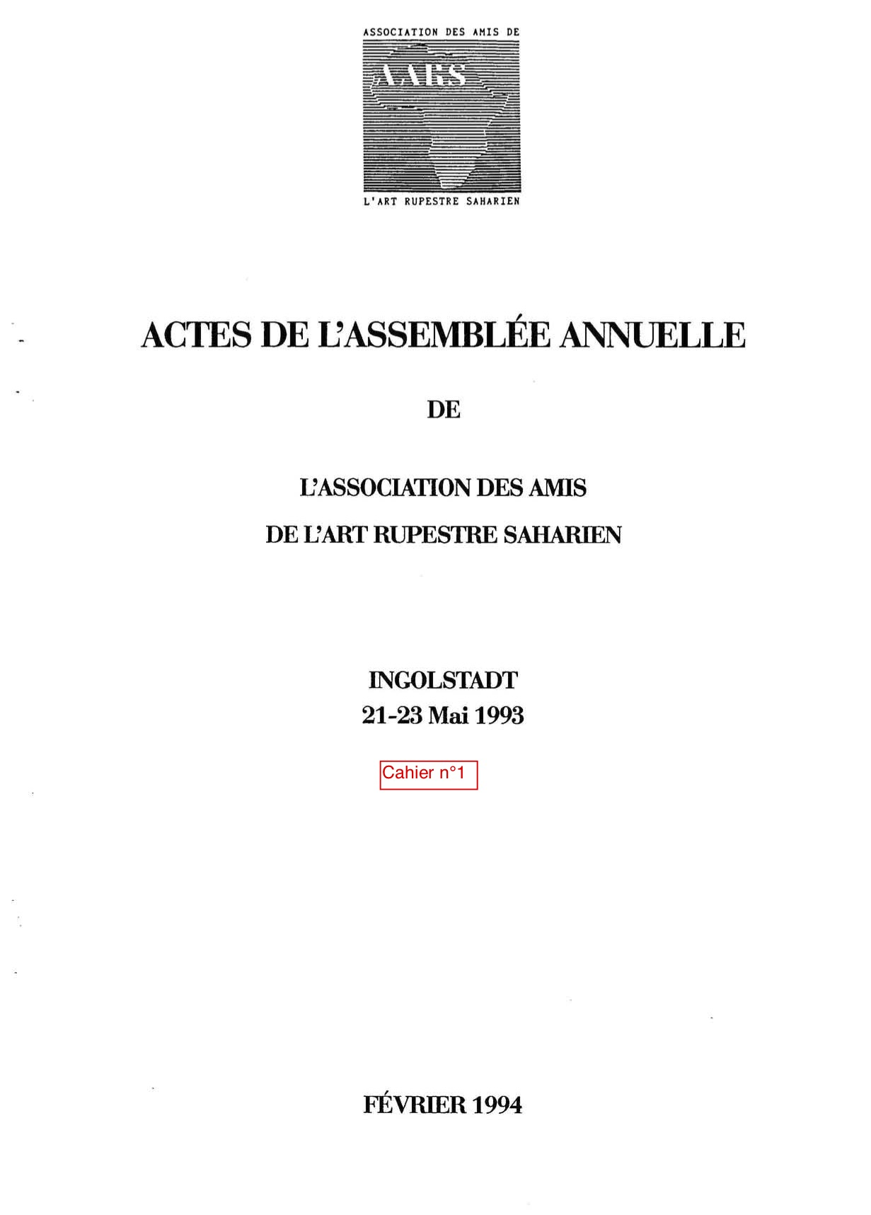You are currently viewing Les Cahiers n° 01 – 1994